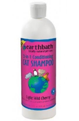Earthbath Cat 2-IN-1 Conditioning Shampoo, Light Wild Cherry Essence, 16 oz